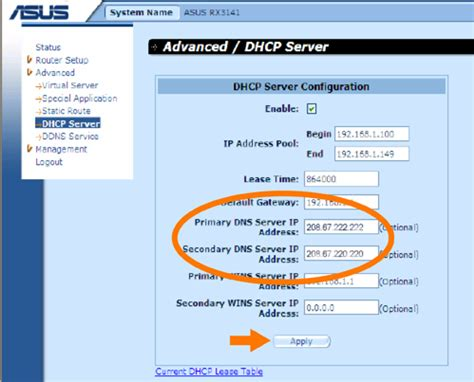 General ASUS Configuration – OpenDNS