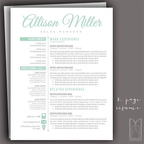 Resume Template and Cover Letter Template by MYPAPERPIG on