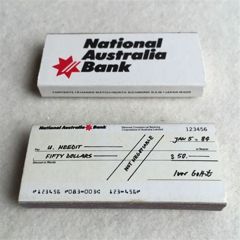 Vintage 80s NATIONAL Australia BANK 'Cheque' ADVERTISING